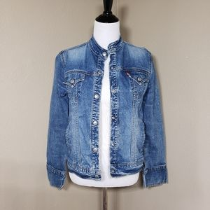 Levi's Denim Jean Jacket Collarless Snap M